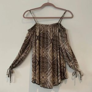 Free People Cold Shoulder Tribal Print Top